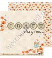 Бумага для скрапбукинга двусторонняя коллекция Цветик-семицветик, 30.5х30.5 см, 190 гр/м, лист Маковое поле