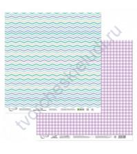Бумага для скрапбукинга двусторонняя Мята-Лаванда, 190 гр/м2, 30.5х30.5 см, лист 6