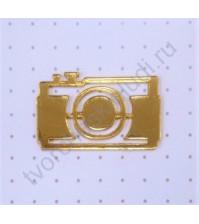 Декоративный элемент из зеркального пластика на клеевом слове Фотоаппарат, 23х36 мм, цвет золото