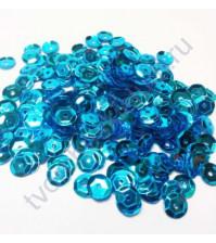 Пайетки круглые с эффектом металлик 6 мм, 10 гр, цвет синий