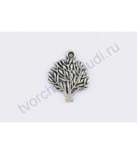 Подвеска металлическая Дерево, 20х17 мм, цвет серебро