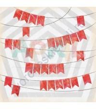 Бумага для скрапбукинга односторонняя Вставай на лыжи!, 30.5х30.5 см, 190 гр/м, лист Гирлянда с флажками