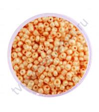 Бисер круглый непрозрачный жемчужный, диаметр 2 мм, 20 гр, цвет 0970-оранжевый