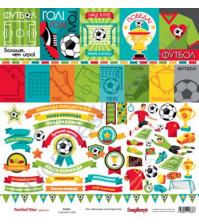 Бумага для скрапбукинга односторонняя, коллекция Футбол, 30.5х30.5 см, 190 гр/м, лист Карточки-2