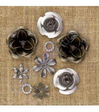 Набор металлических цветочков Vintage Mechanicals, 1-2.5 см, упаковка 9 шт