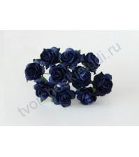 Мини-розочки  1.5 см, 10 шт, цвет синий