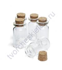Стеклянная бутылочка с пробкой для миниатюр, 20х40 мм, 1 шт