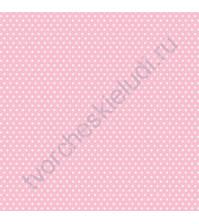 Кардсток односторонний текстурированный Белый горох, 30.5х30.5 см, 216 гр/м, цвет нежный розовый