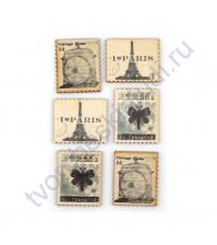 Набор марок из дерева, 6 элементов