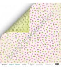 Бумага для скрапбукинга односторонняя 30.5х30.5 см, 190 гр/м, коллекция Sweet Girl, лист Сладости