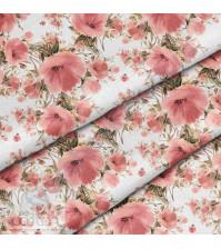 Ткань для рукоделия Пудровый букет, 100% хлопок, плотность 150 гр/м2, размер отреза 33х80 см