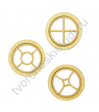 Набор круглых Окошек-3, 3 элемента, диаметр 49 мм, цвет ясень