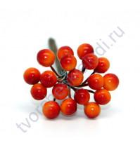Букетик декоративный Ягоды, 18 штук, цвет красно-оранжевый