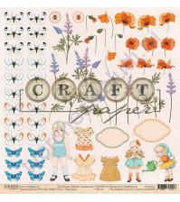 Бумага для скрапбукинга односторонняя коллекция Цветик-семицветик, 30.5х30.5 см, 190 гр/м, лист Подружка