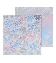 Бумага для скрапбукинга двусторонняя 30.5х30.5 см, 180 гр/м2, лист Зимний узор