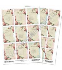 Скрап-карта А4, Календарь 2020. Сад герцогини, без клеевого слоя