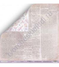 Бумага для скрапбукинга двусторонняя 30.5х30.5 см, 190 гр/м, коллекция Daddy's Princess, лист Газета