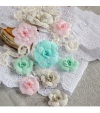 Цветы ручной работы из ткани, 9 шт, цвет шебби микс