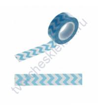 Бумажный скотч с принтом Зигзаг синий, 1.5см х 10 м