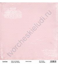 Бумага для скрапбукинга односторонняя, коллекция Базовая розовая, 30х30 см, 250 гр/м2, лист Сердечки
