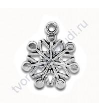 Подвеска металлическая Снежинка 9, цвет серебро