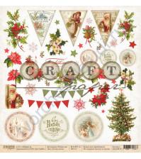 Бумага для скрапбукинга односторонняя коллекция Рождество, 30.5х30.5 см, 190 гр/м, лист Обложка