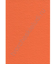 Лист бумаги для скрапбукинга с эмбоссированием (тиснением) Дамасский узор, А4, 160 гр, цвет оранжевый