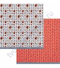 Бумага для скрапбукинга двусторонняя коллекция Мужское дело, 30.5х30.5 см, 190 гр/м, лист Теплый свитер