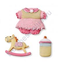Набор декоративных элементов Baby girl1, полимерная смола, 2.5-3.5 см, 3 шт