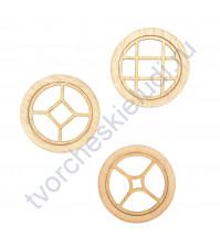 Набор круглых Окошек-1, 3 элемента, диаметр 49 мм, цвет ясень