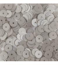 Пайетки плоские круглые с матовым эффектом 6 мм, 10 гр, цвет серый