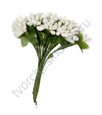Букетик декоративный Веточки, 12 шт, 9.5 см, цвет белый