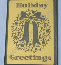 Трафарет металлический для тиснения Holiday Greeting, 8.8х12.7 см