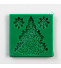 Форма силиконовая (молд) Набор Новогодняя елка, 3 элемента, размер молда 8х8 см