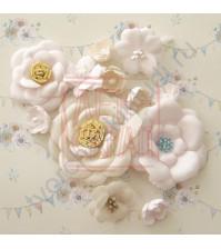 Цветы ручной работы из ткани Потешки. Зая, 13 штук