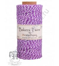 Шнур (шпагат) хлопковый Bakers Twine, диаметр 1 мм, цвет сиреневый-белый, 1 метр