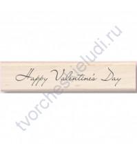 Штамп из резины на деревянной оснастке Happy Valentines Day, 2х10 см