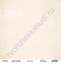 Бумага для скрапбукинга односторонняя, коллекция Базовая бежевая, 30х30 см, 250 гр/м2, лист Клеточки