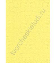 Лист бумаги для скрапбукинга с эмбоссированием (тиснением) Дамасский узор, А4, 160 гр, цвет желтый
