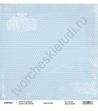 Бумага для скрапбукинга односторонняя, коллекция Базовая голубая, 30х30 см, 250 гр/м2, лист Сердечки