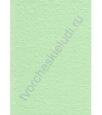 Лист бумаги для скрапбукинга с эмбоссированием (тиснением) Дамасский узор, А4, 160 гр, цвет светло-зеленый
