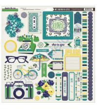Набор стикеров из чипборда Oxford Lane, 34 элемента