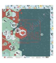 Бумага для скрапбукинга двусторонняя, 30.5х30.5 см, плотность 190 гр/м2, коллекция Все будет хорошо!, лист Медицинская карта