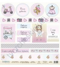 Бумага для скрапбукинга односторонняя DollHouse, 30.5х30.5 см, 190 гр/м, лист карточек DollHouse