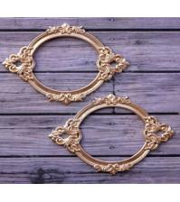 Набор металлических рамок для записей Барокко овальная, 2 шт, цвет золото