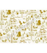 Калька с золотым рисунком для декора Detective, коллекция Sherlock Holmes, плотность 160гр/м2, формат А4