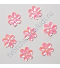 Пайетки в форме цветка с эффектом радужного перламутра 9 мм, 10 гр, цвет 174-бледно-розовый