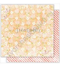 Бумага для скрапбукинга двусторонняя 30.5х30.5 см, 190 гр/м, коллекция My autumn, лист Peach flowers