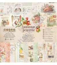 Набор бумаги Любимые рецепты, 30.5х30.5 см, 190 гр/м, 12 двусторонних листов + 4 листа с карточками и элементами для вырезания