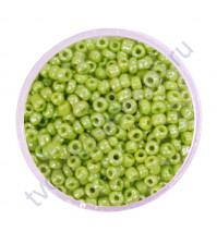 Бисер круглый непрозрачный блестящий, диаметр 2 мм, 20 гр, цвет 0124-салатовый
